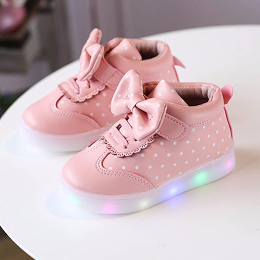 TELOTUNY Enfants Enfants Garçons Filles Bowknot Dot LED Light Up Lumineux Sneakers Chaussures Pour Filles Chaussures JA10