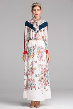 Fashion women's floral print long sleeves dress Spring summer elegant Side Slit dress A154 plunge floral print side slit jumpsuit