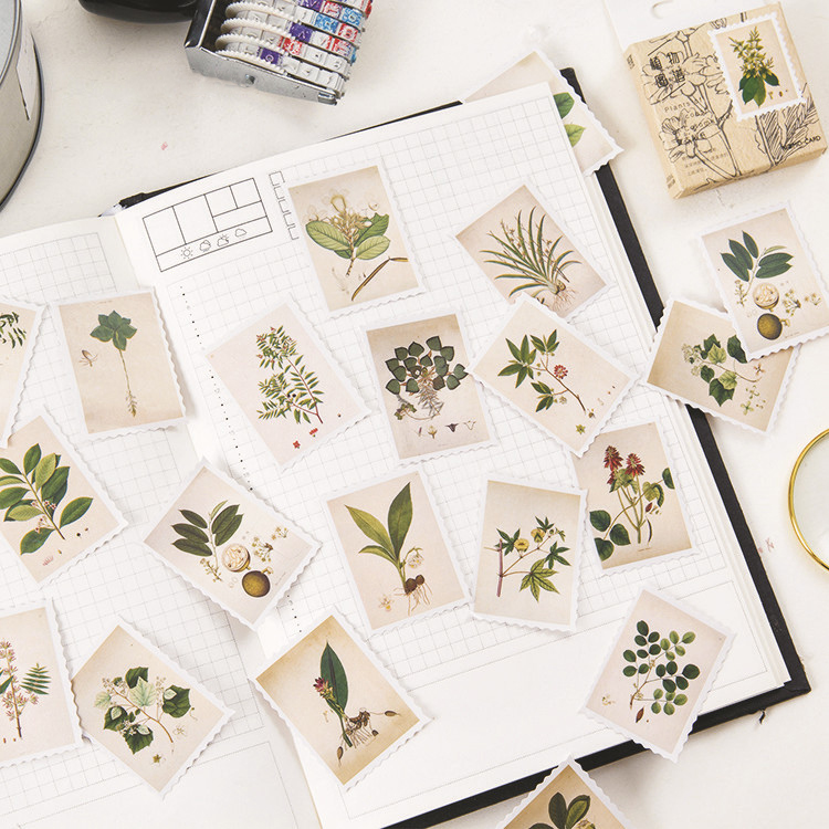 45PCS/PACK Retro Plant Label Vintage Sticker Marker Planner Diary School Stationery Stickers Scrapbooking Bullet Journal Sl1502
