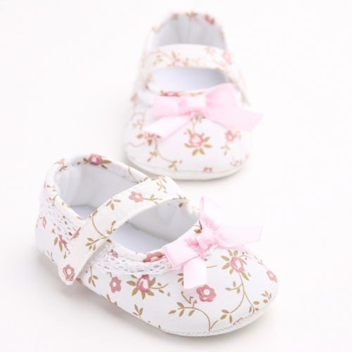 Cute Floral Printed Baby Girls Princess Shoes White Bowknot Crib Shoes Soft Sole Anti-slip Shoes First Walkers