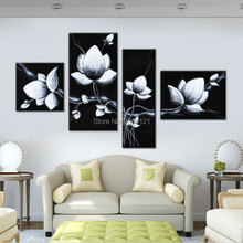 Hand-painted Oil Wall Art black white Flowers Bloom Home Decoration Abstract Floral Oil Painting on Canvas 4pcs Giclee paintings yhhp hand painted abstract art flowers decoration canvas oil painting