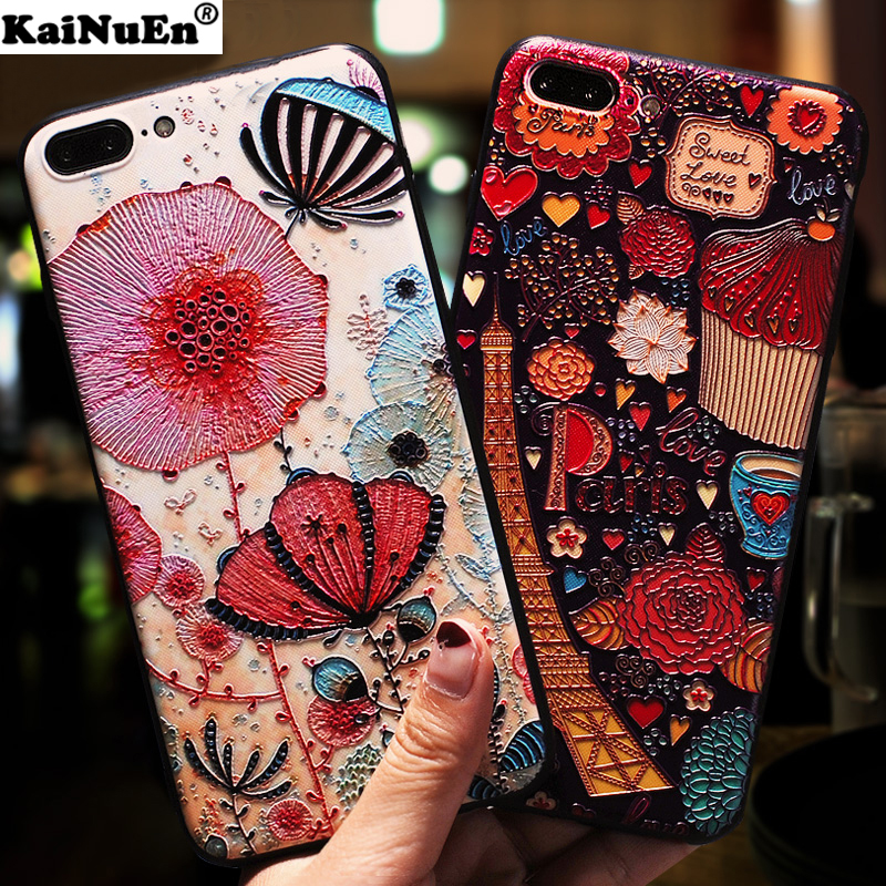 KaiNuEn luxury 3d flower capinha,coque,cover,case for iphone 8 plus 8plus silicone silicon phone accessories for apple iphone8 i