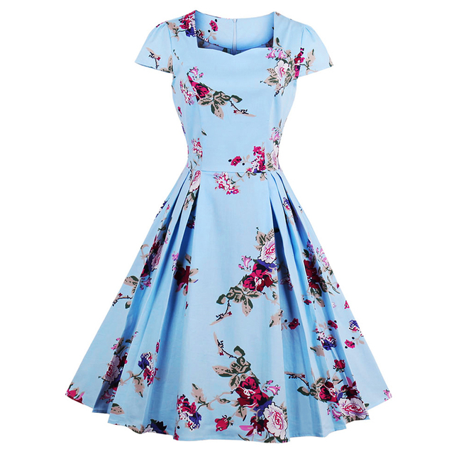 401b638dac136 US $16.7 41% OFF|Kenancy Women Summer Dress plus size Audrey hepburn Floral  robe Retro Swing Casual 50s Vintage Rockabilly Dresses Vestidos-in Dresses  ...