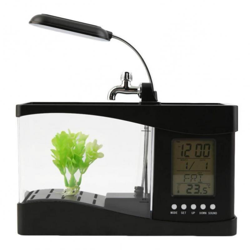 USB Mini Aquarium bureau Aquarium LED électronique Aquarium poisson bol décoration avec pompe à eau lumière LED calendrier horloge - 4