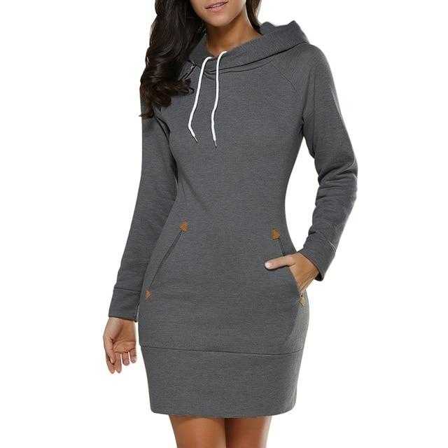 Mit kapuze Hoodies Solid Sweatshirt Kleid Beiläufige Dünne Lange Hülse Mini  Kleider Vestidos Frauen Kleid 2017 09e2adec49