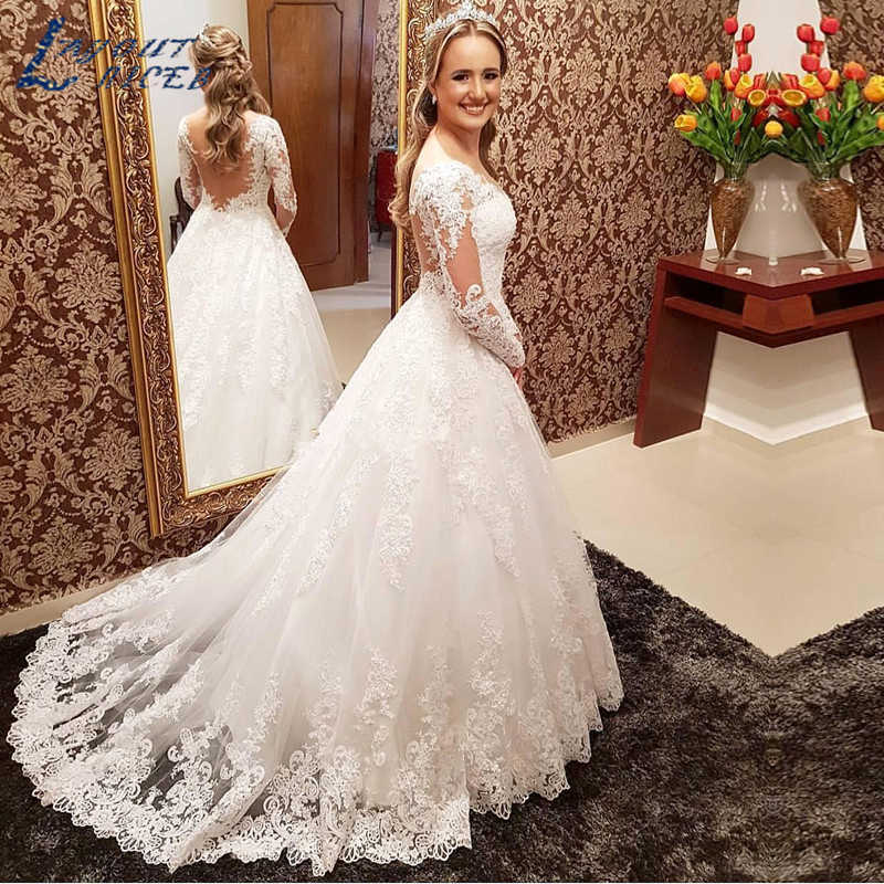 YQS036 Lace White Wedding Dresses Long Sleeve 2019 New Lace Tulle Bridal Gown Bohemian Wedding Gowns robe de mariage Custom Made