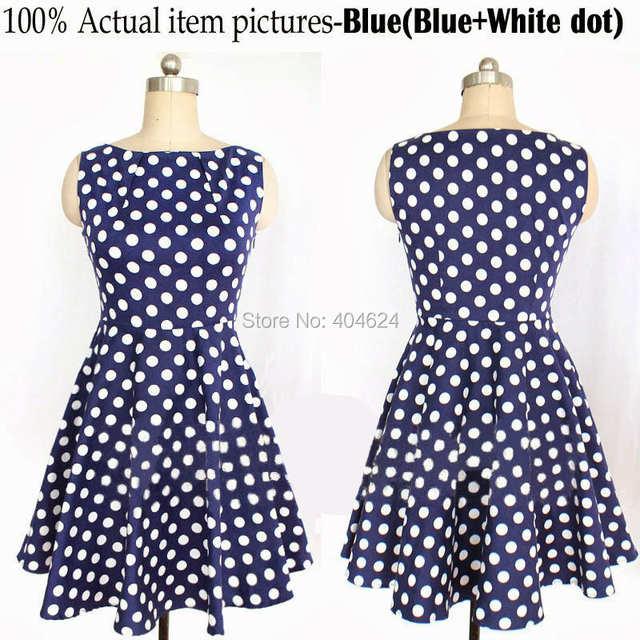 5835318f477 placeholder Summer Style Dress Women Cute O-Neck Blue Polka Dot Dress  Sleeveless Cotton A-