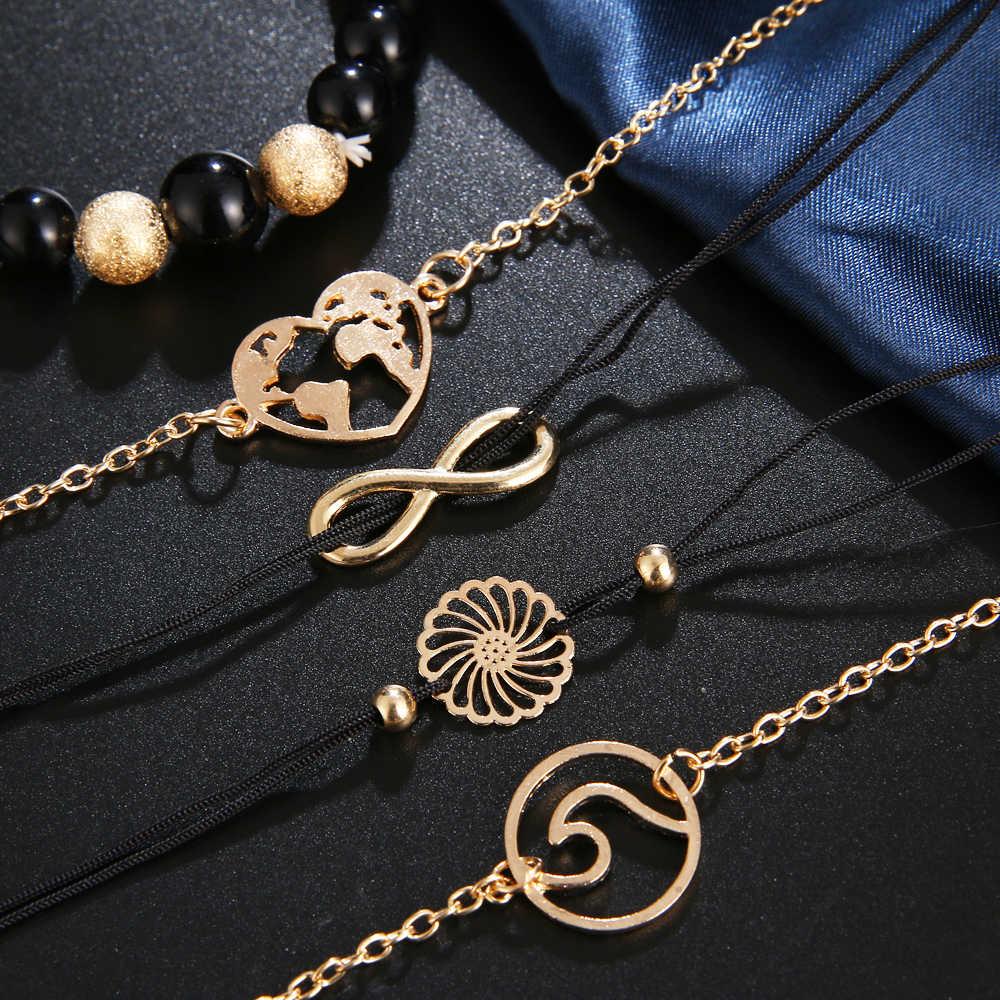 FAMSHIN богемные черные браслеты из бисера для женщин и мужчин винтажная мода сердце подвеска в виде волн браслеты наборы ювелирных изделий рождественские подарки