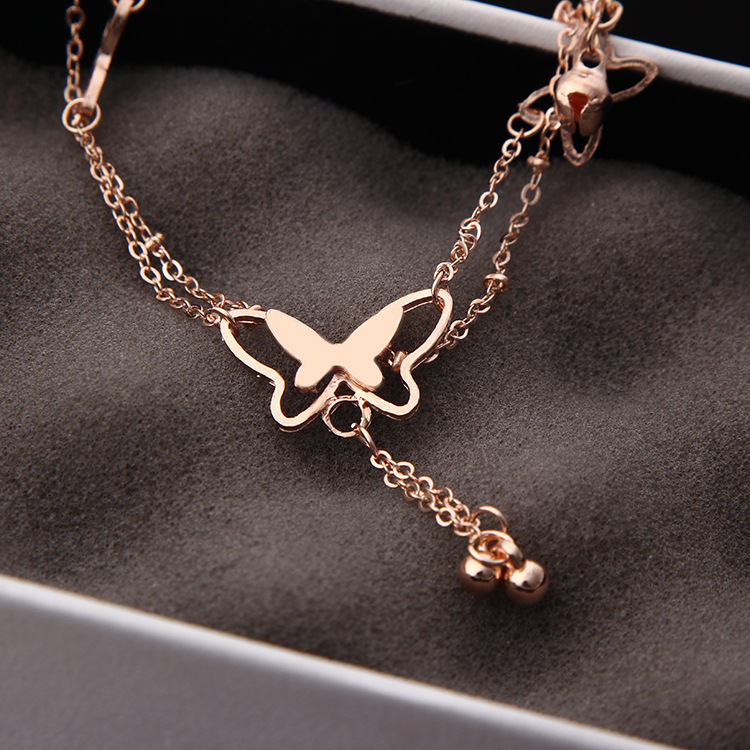1Pcs Tassel Anklets Casual Beach Vacation Anklets Bracelets Jewelry Ankle Chain New Butterfly Single Rose Gold Anklet