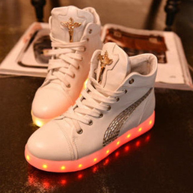 Led Shoes Chaussures New Top 2015 Women White For Pour High kuXiOPZT
