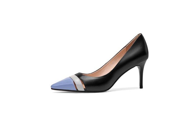 Cuir Chaussures Femmes noir Élégant Véritable Bout En Pointu Mélangée Esrfiyfe Creux Nouveau Beige Qualité Couleur Haute Out 2019 Pompes n71IS