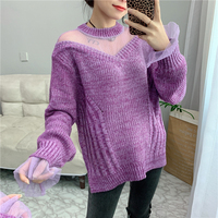 Ladies Oversized Sweater Fashion Women Glitter Colored Sweater Female Long Sleeve O neck Loose Sweater Knitted Pullovers Tops