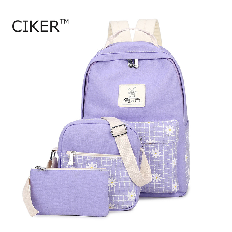CIKER Brand New style 3pcs set canvas backpack women printing backpacks for teenage girls school bags