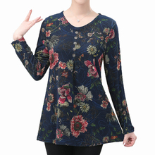 Middle Aged Woman Casual Blouse Chinese Flower Printing Top Female Blue Red Green Tunic Womens Autumn Spring Essential Blouses