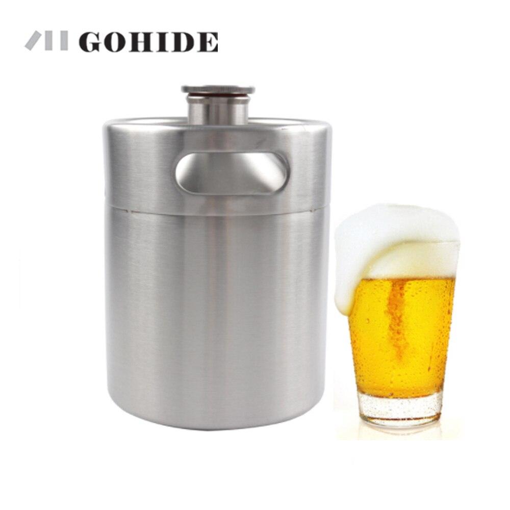 GUH 2L bière cultivler Mini fût en acier inoxydable Mini bouteille de bière clés barils maison brassage vin bière faisant Bar outils réservoir de bière