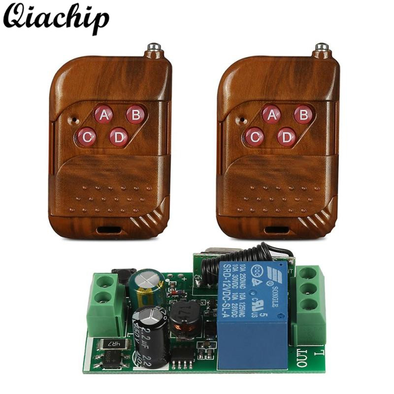 QIACHIP 433Mhz AC 85V ~ 250V 220V RF Relay 1CH Button Wireless Remote Control Switch Receiver Module and 433 Mhz Remote Controls ac 250v 20a normal close 60c temperature control switch bimetal thermostat