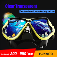 SABOLAY Swimming Eyewear Myopic Lens Snorkel Full Dry Breath Silicone Tube Underwater Scuba Goggles PJ1900