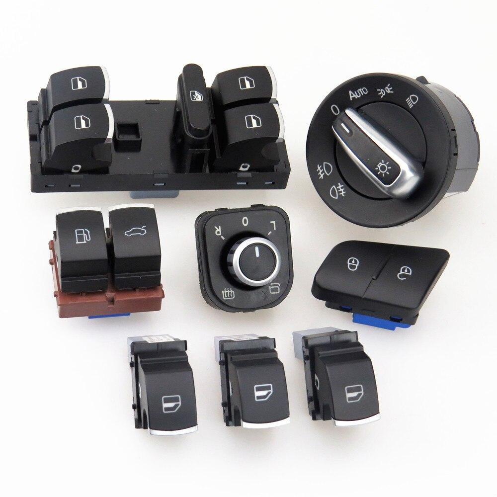 TUKE 1 Set phare de voiture et fenêtre verre ascenseur interrupteur rétroviseur bouton + coffre et réservoir de carburant bouton pour VW Passat B6 CC 5ND959857