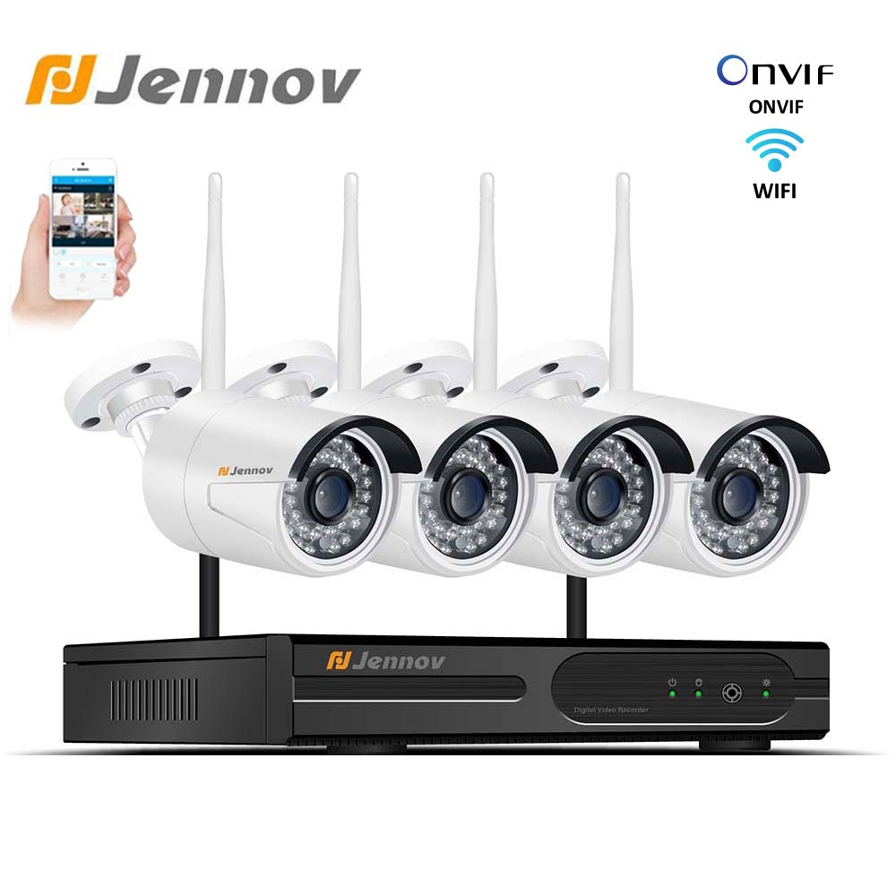 Jennov Home Security Camera System Wireless 4CH 2MP CCVT Outdoor Wifi Camera 1080P Security System Kit