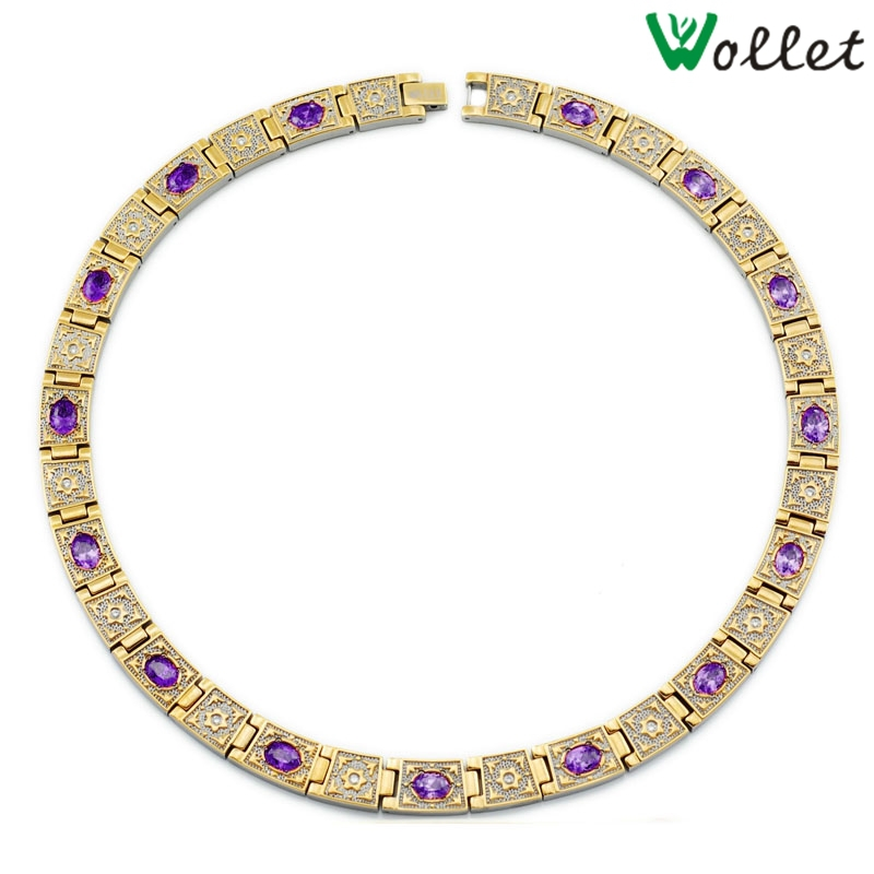 Wollet Jewelry Titanium Necklace Women Magnetic Germanium Infrared Negative Ion Gold Color Vintage Purple Crystal Health Care цена