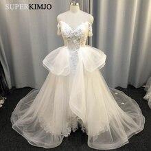 SuperKimJo Detachable Skirt Wedding Dresses 2020 Off the Shoulder Lace Applique 3D Flower Bridal Dress Robe De Mariee flower applique off shoulder bodysuit