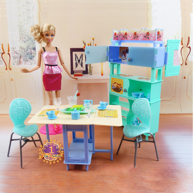 Christmas gift present play toy doll house dining room furniture for 1/6 BJD simba lica monster high for  barbie dolls house