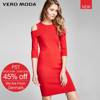 VeroModa Brand 2018 NEW Office lady style regular three quarter sleeve female O-neck collar women solid A-line dress 3317146505 photo shoot
