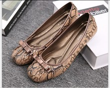 free shipping snakeskin square flat shoes women shoes  plus size 35-41