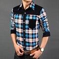 HCXY 2015 nuevo de pana de los hombres camisas a cuadros hombres más el tamaño grande famosa marca de moda de manga larga camisa de los hombres