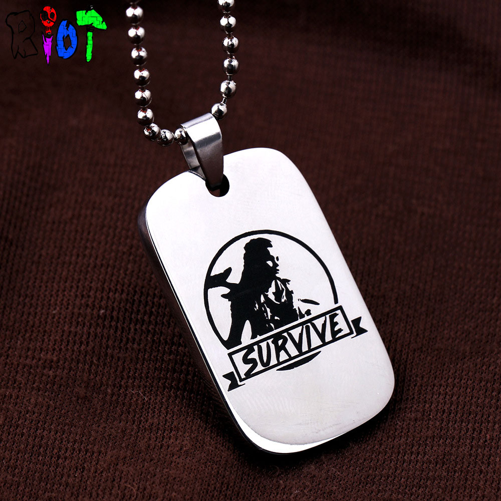 PS4 game Horizon Zero Dawn choker necklace Aloy figure Survive letter logo High quality stainless steel pendant keychain keyring