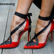 New Design Women Fashion Pointed Toe Red Suede Leather Thin Heel Pumps Lace-up A
