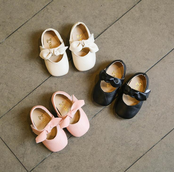 Spring Autumn Model Little Girl Shoes Baby Princess Non-slip Soft Bottom Toddler Shoes Size 15-19 Bow Children's Leather Shoes