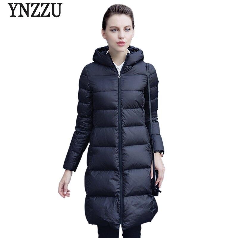 New Autumn Winter Women Down Jackets Elegant Slim 90% White Duck Down Jackets Hooded Warm Winter Coat Outwear High Quality AO287
