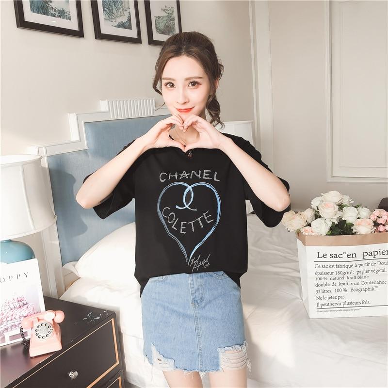 46cbb7854c Short Sleeved O-Neck Love Printing T-shirt 2018 New Pattern Loos  Comfortable Joker Leisure Student Bottoming Tops Female