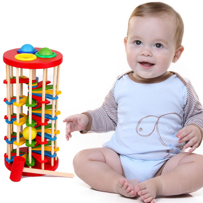 New Baby Toys Pounding and Roll Wooden Tower with Mallet Early Educational Toys for Kids|Color & Shape|   - title=