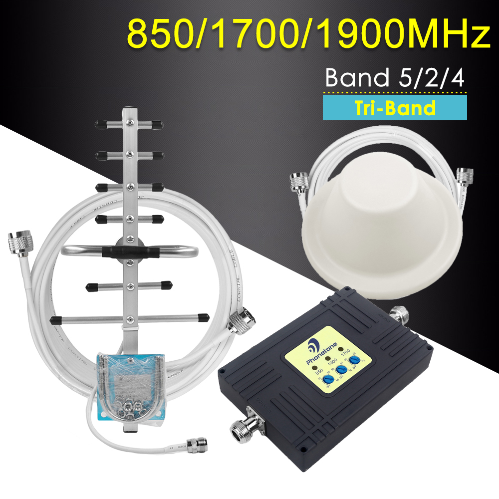 Amplificateur de Signal cellulaire Tri-bande 4G LTE amplificateur de réseau Mobile répéteur 850/1700/1900 MHz 2G 3G 4G lte pour le chili et le mexique