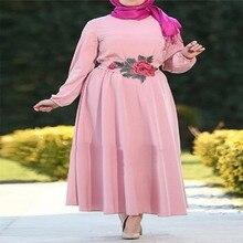 New Style Muslim Spring Summer Loose Long Sleeve Dress Islamic Abaya Vintage Jilbab Kaftan Embroidery Flower Robe