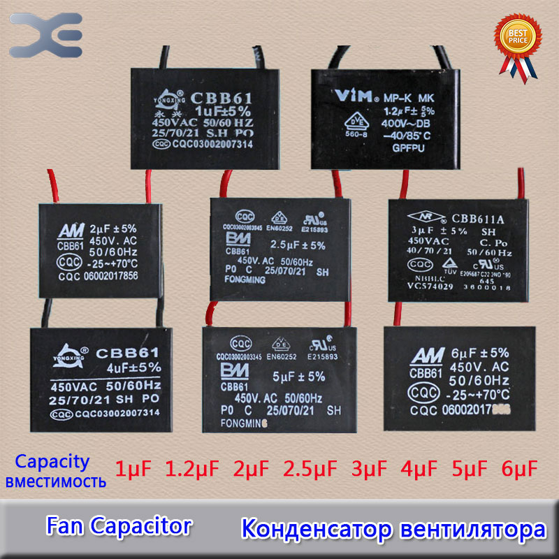 12 Models Fan Motor CBB61 1UF 1.2UF 1.5UF 1.8UF 2UF 2.5UF 3UF 4UF 5UF 6UF 8UF 10UF Capacitor 450V Original Part cbb60 10uf 450v 50hz 60hz motor running start capacitor application washing machine