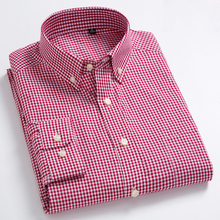 Camisa de manga larga con ajuste estándar para hombre, microcuadros, bolsillo, fina, suave, 100% algodón, líneas blancas/Rojas, camisa de vestir a cuadros