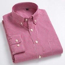 Erkek standart fit uzun kollu mikro ekose gömlek yama cep ince yumuşak % 100% pamuk beyaz/kırmızı satır ekose elbise gömlek