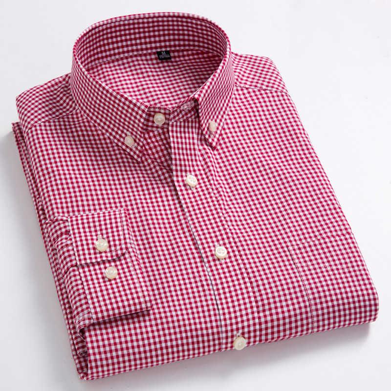 ชายมาตรฐาน-FitแขนยาวMicro-Check Patchเสื้อพ็อกเก็ตบางนุ่ม 100% ผ้าฝ้ายสีขาว/เส้นสีแดงลายสก๊อตเสื้อ
