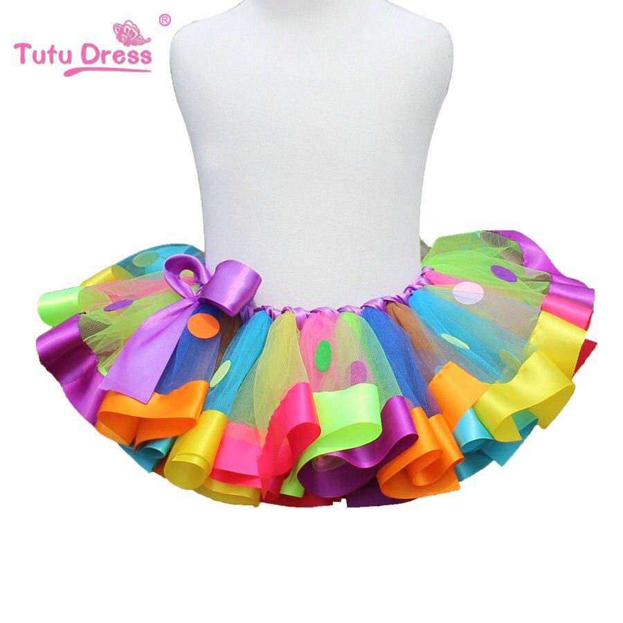 16a0fd65a3 Girls Skirt Pettiskirt Rainbow Tutu Skirt Girl Princess Mini Handmade Baby  Girls Toddler Party Ball Gown Children Clothing