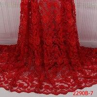2018 Последняя мода французские кружева ткани Высокое качество Африканский красный 3d Цветы кружевная ткань с Handmake бусы Материал XZ2290B 2