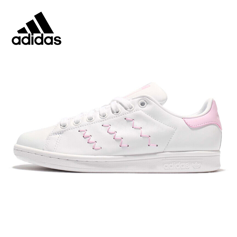 Pink Stripe Adidas Sneakers Women Lace-up Sports Skateboarding Shoes Low-top Flat Genuine Leather Adidas Women Shoes цены онлайн