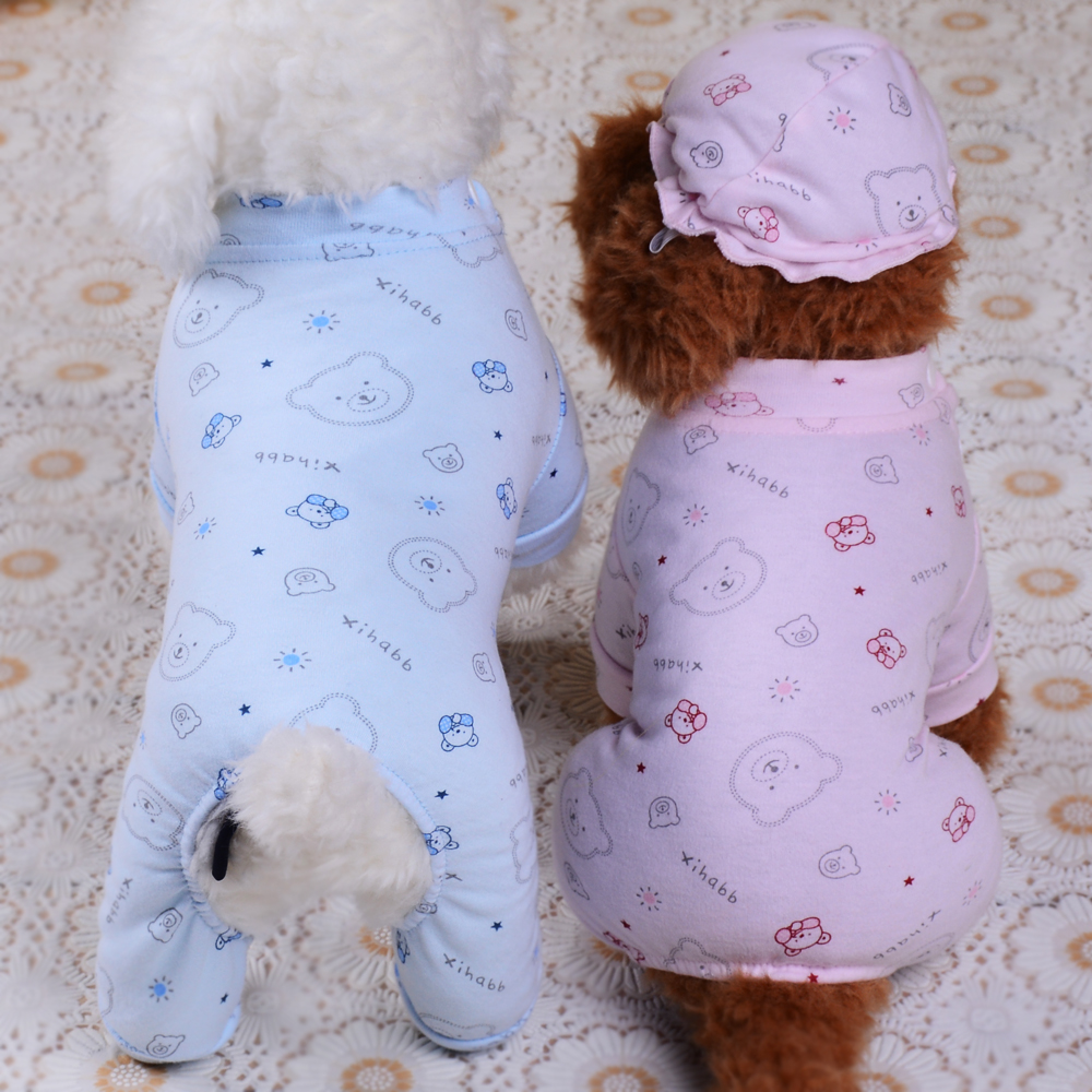 Detail Feedback Questions about Cotton Dog Pajamas Poodle Chihuahua Pet  Clothes Jumpsuit Small Puppy Cat Outfit Leisure Sleeping Wear with Hat on  ... 18f48cb8c