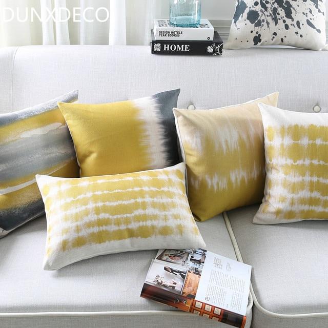 dunxdeco kissen bettw sche baumwollmischung kissenbezug moderne kunst gelb grau streifen. Black Bedroom Furniture Sets. Home Design Ideas