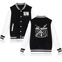 Classic Japan Anime Baseball Jacket Capless Mens Hoodies And Sweatshirts Fashion Sword Art Online Hoodies Men