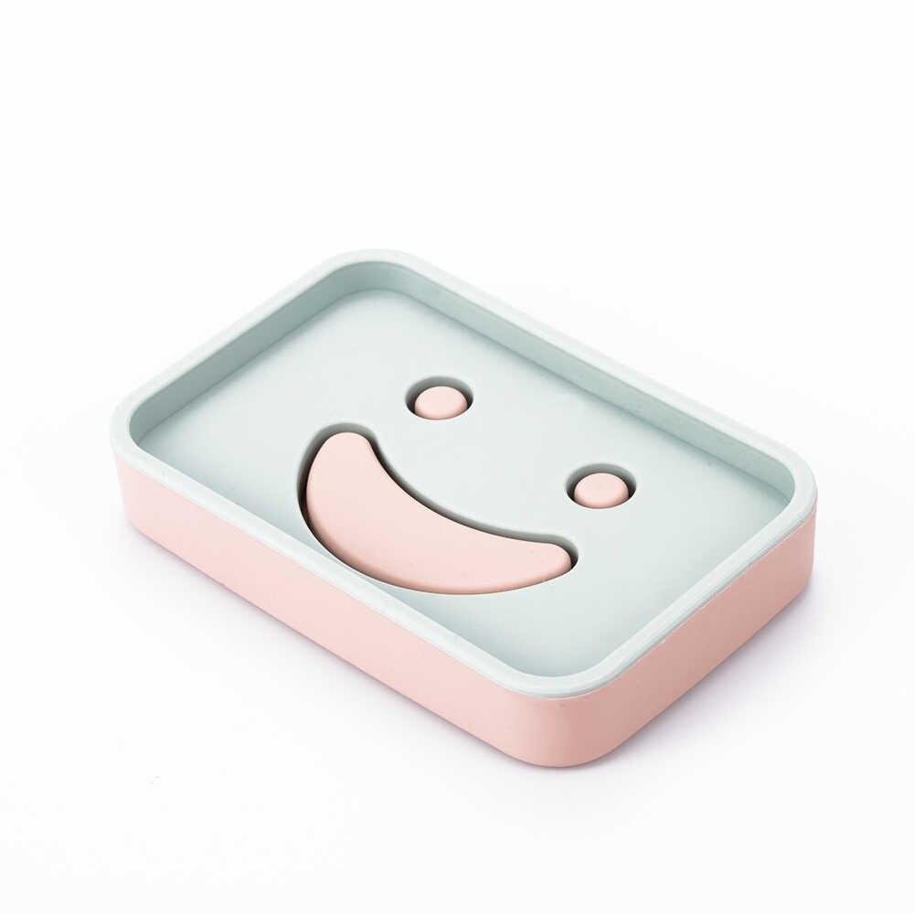 1 PC Smiley Face konstrukcja z tworzywa sztucznego mydelniczki kuchnia łazienka akcesoria do domu Hotel Box opróżniania uchwyt okrągły i kwadratowy kształt