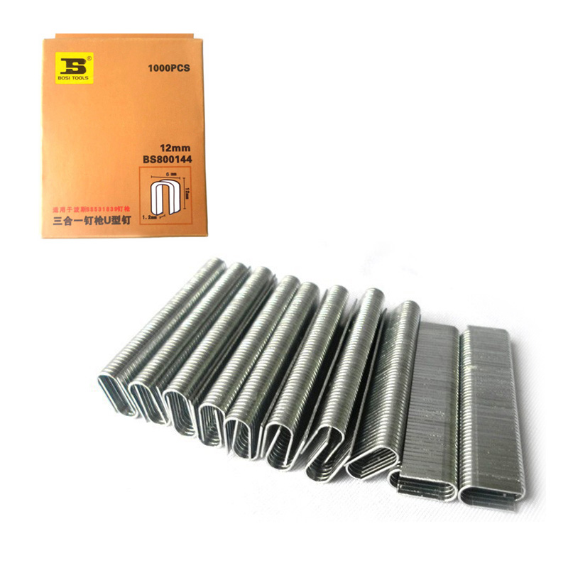 1000pc/pack Round Crown Staples 12/25inch/12mm Leg Long