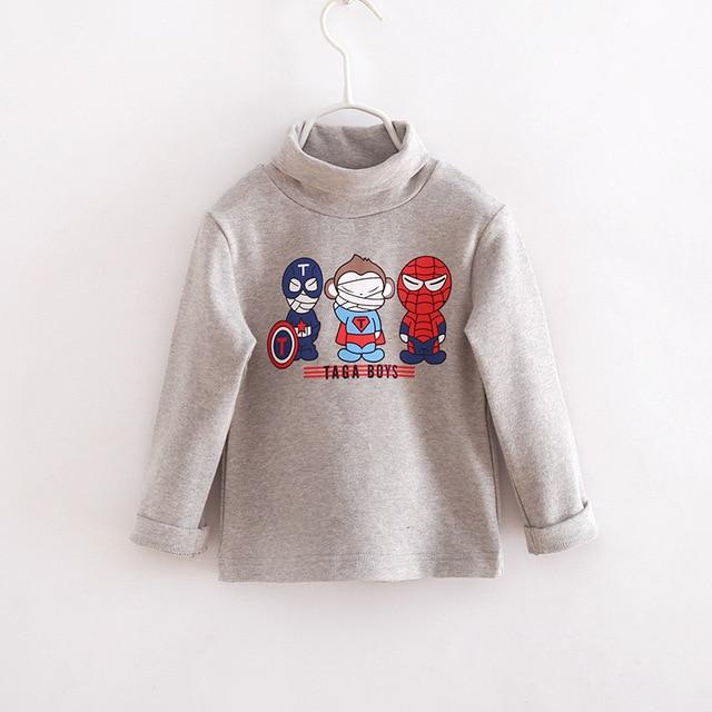 2016 autumn winter Brand Children cotton T shirt baby boys girls Cashmere Turtleneck hoodies kids clothing Sweatshirts 2-7 years